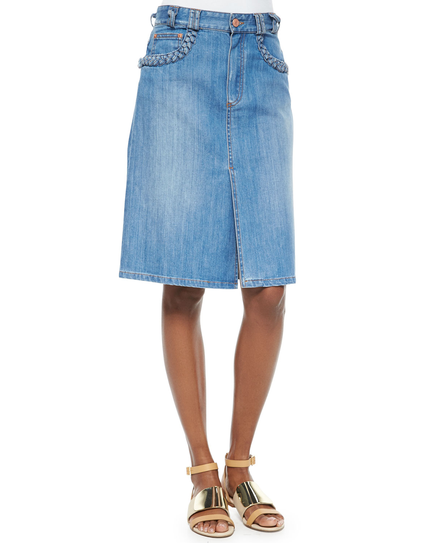 1d2715f25bb06 Chloe Denim Skirt With Pockets | Saddha