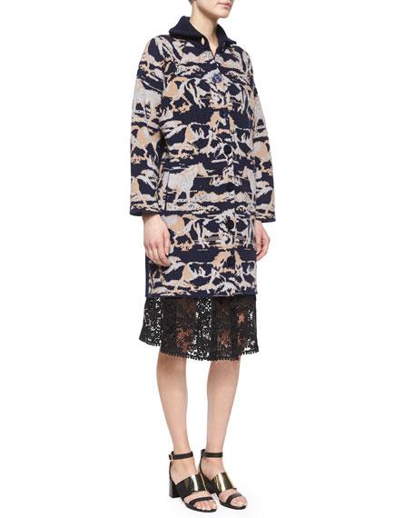 Lace A-line Knee-Length Skirt, Black