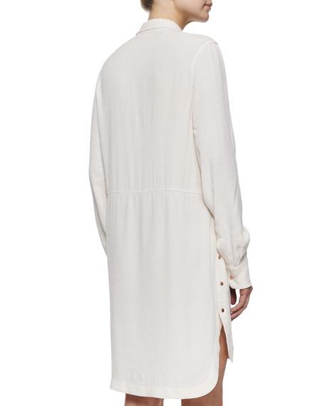 Long-Sleeve Tunic Dress, Ecru