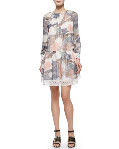Long-Sleeve Printed Georgette Dress