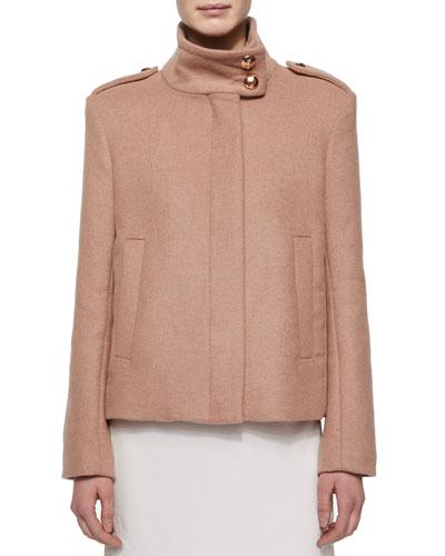 Short Wool Coat W/ Rose Golden Buttons