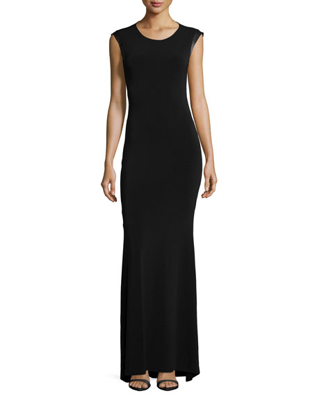 Alice + OliviaLeather-Trim Open-Back Maxi Dress, Black