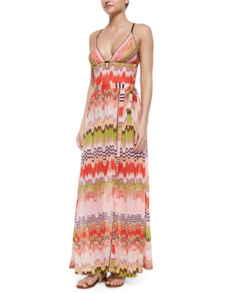 Missoni Mare Multi Wave & Stripe-Pattern Maxi Skirt, Pink
