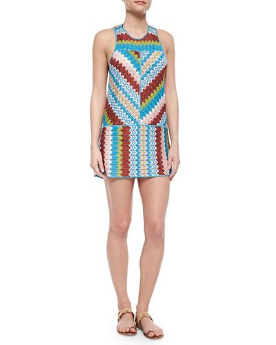 Metallic Wavy-Print Mini Dress