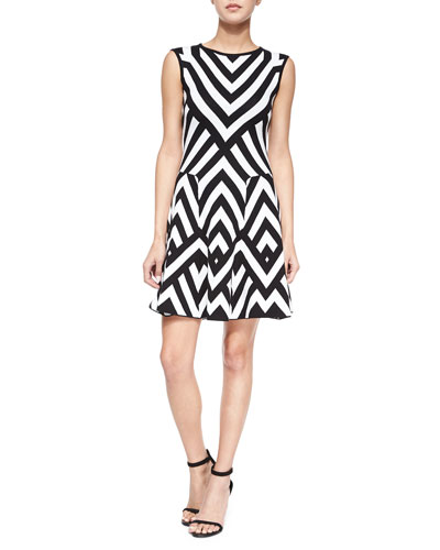Sleeveless Chevron Intarsia Godet Dress
