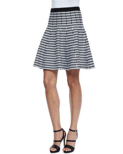 Zigzag-Print Flared Skirt