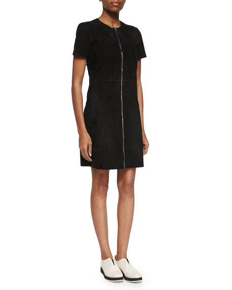 Rag & Bone Short-Sleeve Zip-Front Suede Dress