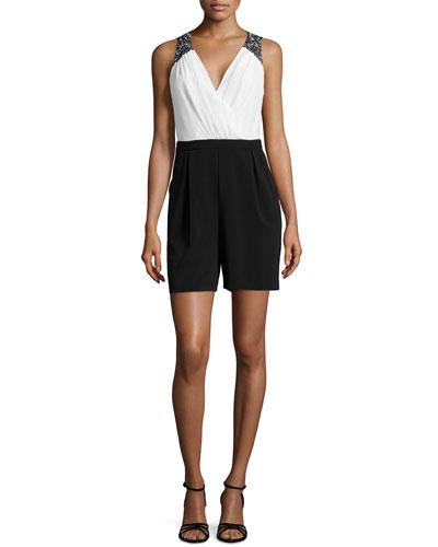 Beaded Shoulder Jumpsuit, Black/White