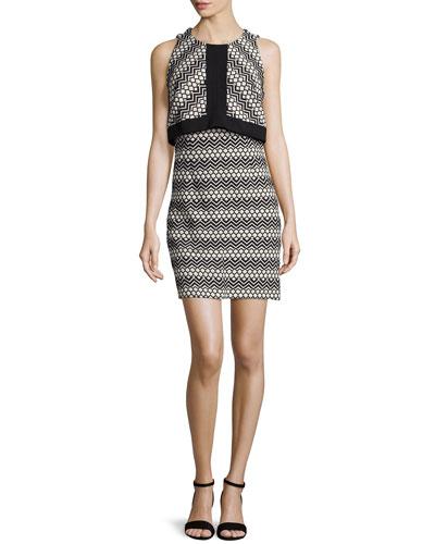Sleeveless Popover Jacquard Dress, Black/White