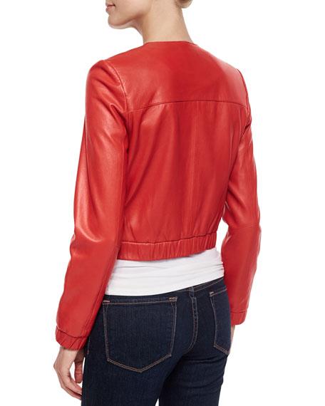 Bagatelle Cropped Leather Bomber Jacket