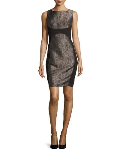Metallic Snake-Print Ponte Dress, Black Multi