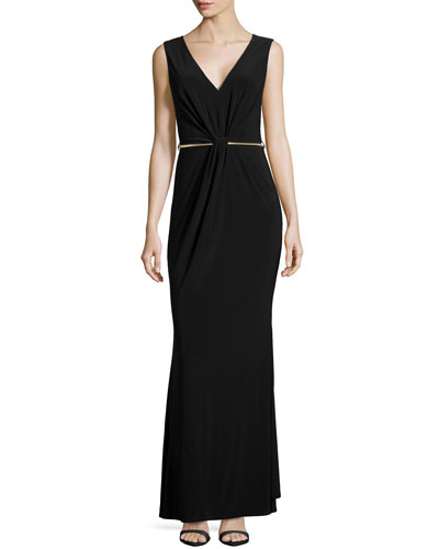 Fitted Gown with Metal Belt, Black