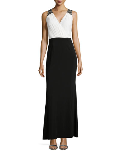 Beaded Shoulder Two-Tone Gown, Black Multi