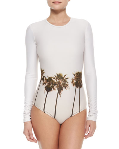 UPF 50 Palm-Tree-Print Long-Sleeve Swimsuit