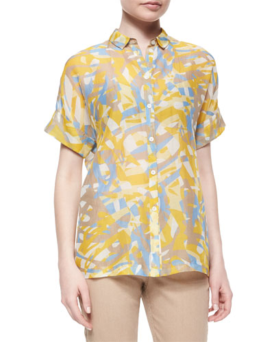 Britlee Short-Sleeve Kaleidoscope-Print Blouse