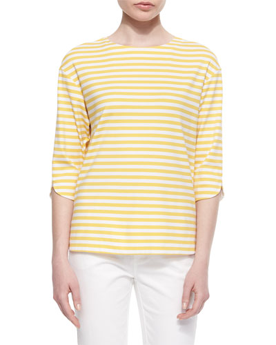 Yarn-Dyed Striped Blouse, Dandelion