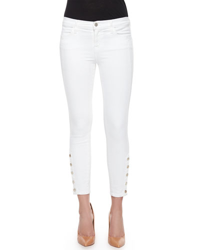 Suvi Cropped Button-Cuff Skinny Jeans, White