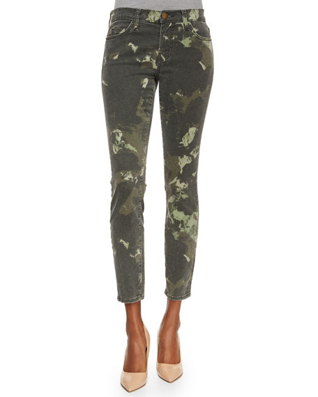 Current/Elliott The Stiletto Ankle Jeans, Army Green Watercolor