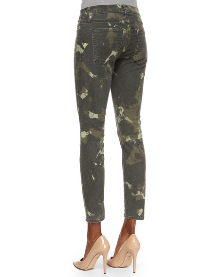 The Stiletto Ankle Jeans, Army Green Watercolor