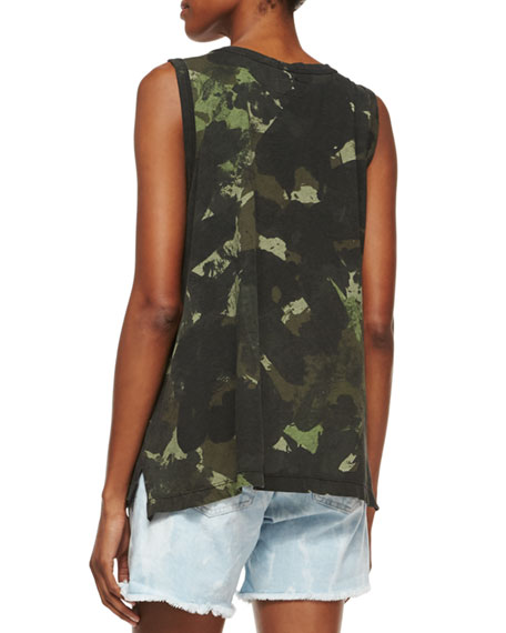 The Muscle Tee, Army Green Watercolor