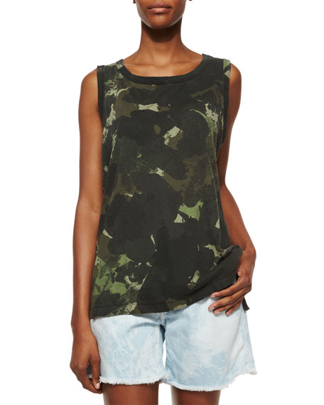 Current/Elliott The Muscle Tee, Army Green Watercolor