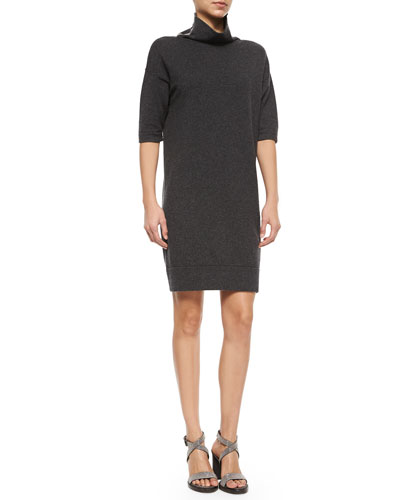 Monili-Collar Cashmere Turtleneck Dress