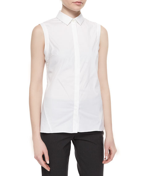 Brunello Cucinelli Poplin Sleeveless Shirt with Peplum Back