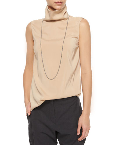 Sleeveless Monili Turtleneck Top