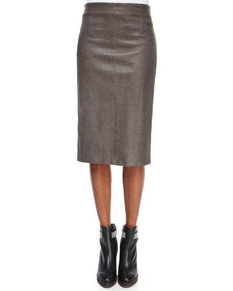 Brunello Cucinelli Leather Stretch Pencil Skirt, Graphite