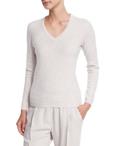 Suede Elbow-Patch Cashmere Sweater