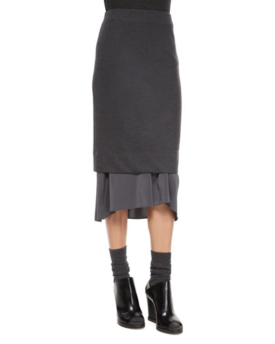 Wool-Blend Pencil Skirt with Flutter Hem
