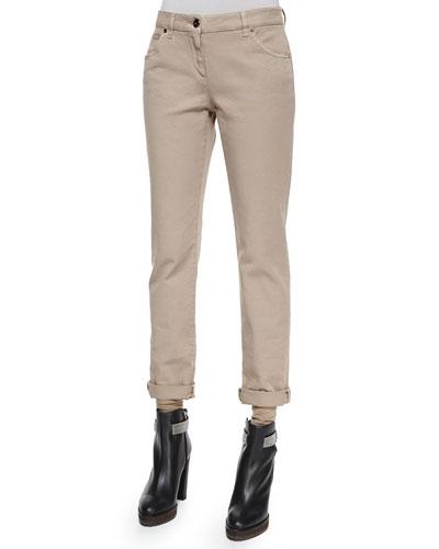 Garment-Dyed Five-Pocket Jeans, Bran