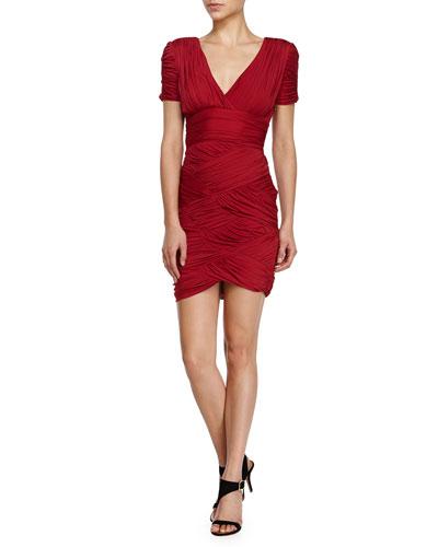 Ruched Short-Sleeve Cocktail Dress, Paprika