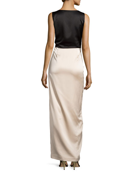 Two-Tone Knotted-Front Gown, Black/Champagne