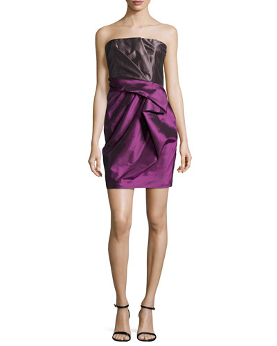 Strapless Ruffled Colorblock Cocktail Dress, Amethyst/Steel
