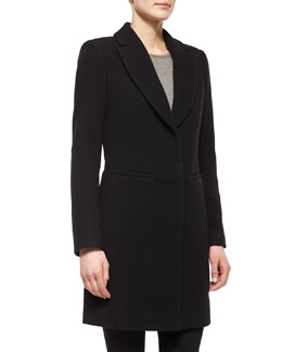Long-Sleeve Button-Front Coat, Black