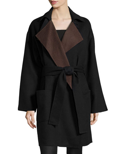 Belted Colorblock Coat, Black/Brown