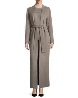 Waterfall Belted Coat, Heather Dust