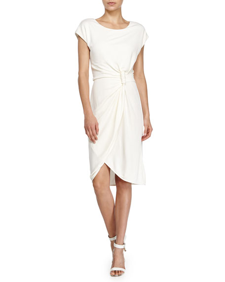 Halston Heritage Knot-Waist Faux-Wrap Dress, Chalk