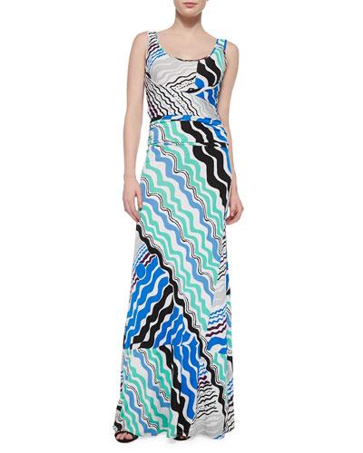 Sleeveless Wave-Print Maxi Dress