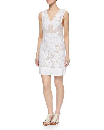Sleeveless Floral-Burnout Sheath Dress