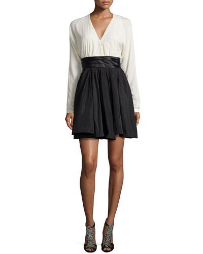 Combo Dress with Pleated Waist, Chalk/Black