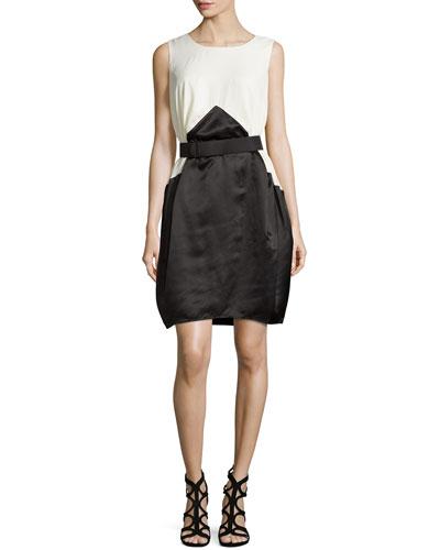 Colorblock Belted Dress, Cream/Black