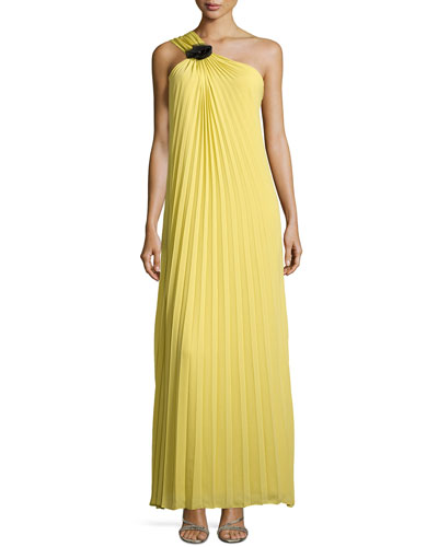 Pleated One-Shoulder Gown with Flower Detail, Chartreuse