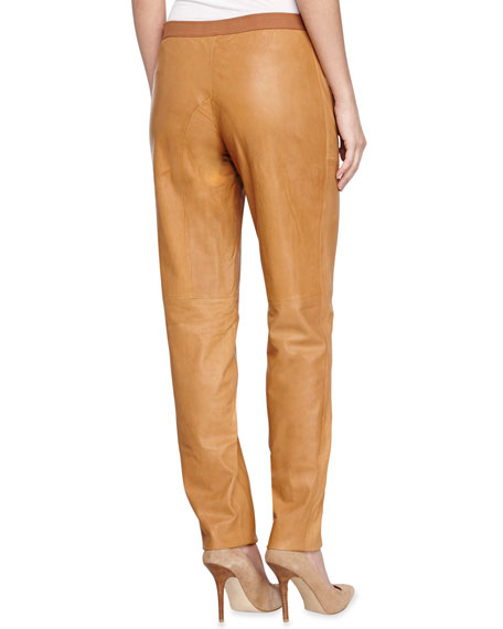 Slouchy Leather Trousers, Rust