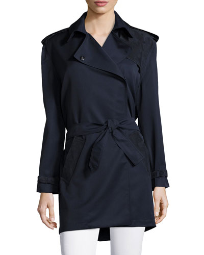 Long-Sleeve Combo Trench Coat, Navy