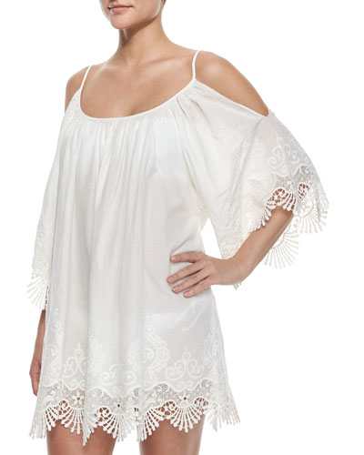 Serena Embroidered-Trim Coverup Dress