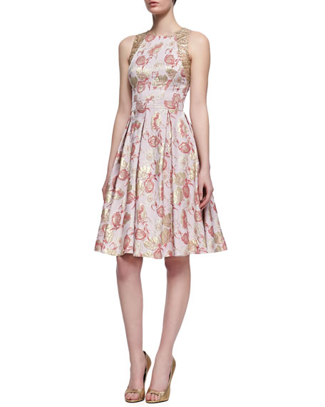 Carmen Marc ValvoFloral-Print Sleeveless Golden Jacquard Dress,
