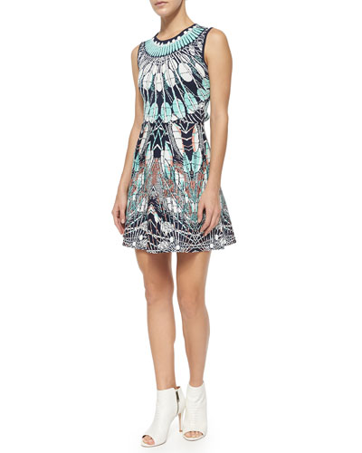 Wilma A-Line Feather-Print Dress, Dark Ink/Multicolor