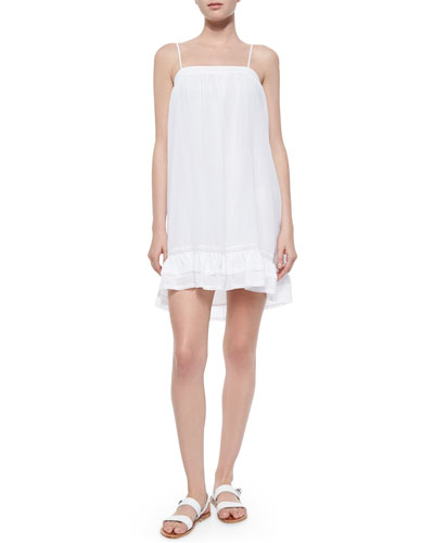 Aisha Ruffle-Trim Babydoll Dress, White